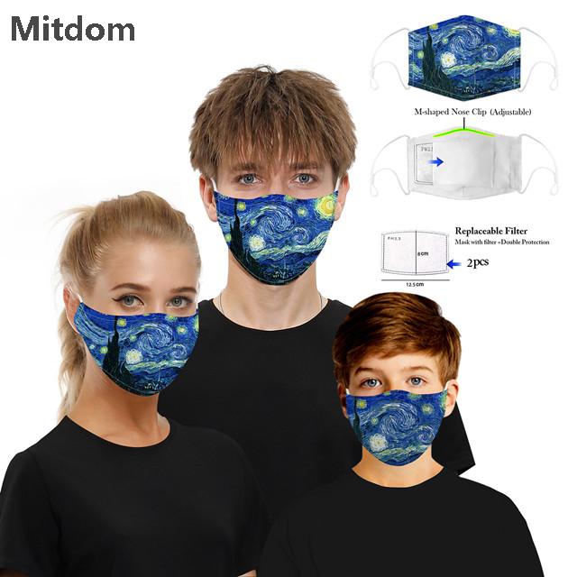 Hot selling dustproof washable adjustable fashion face mask with filter